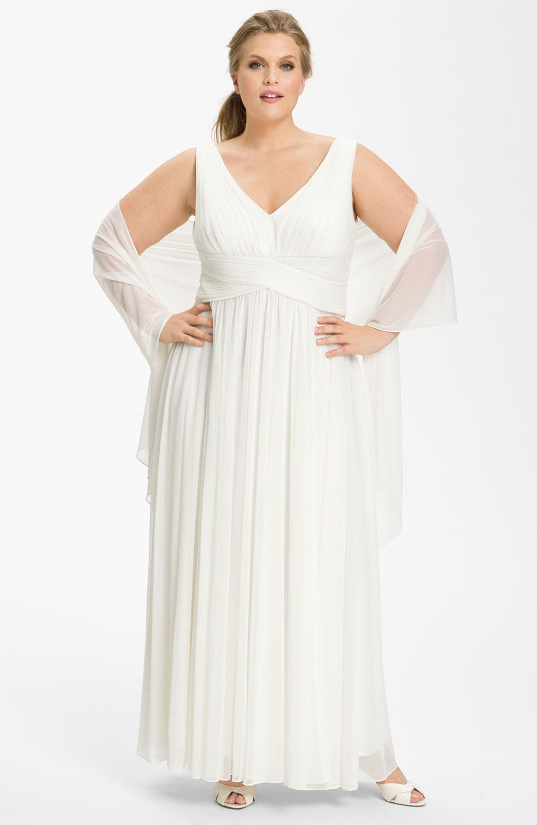 Alternate Image 1 Selected - Alex Evenings Ruched Mesh Gown with Shawl (Plus)