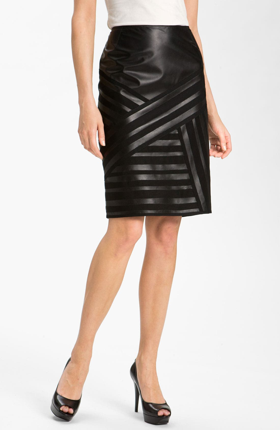 Main Image - Lafayette 148 New York Banded Leather Skirt