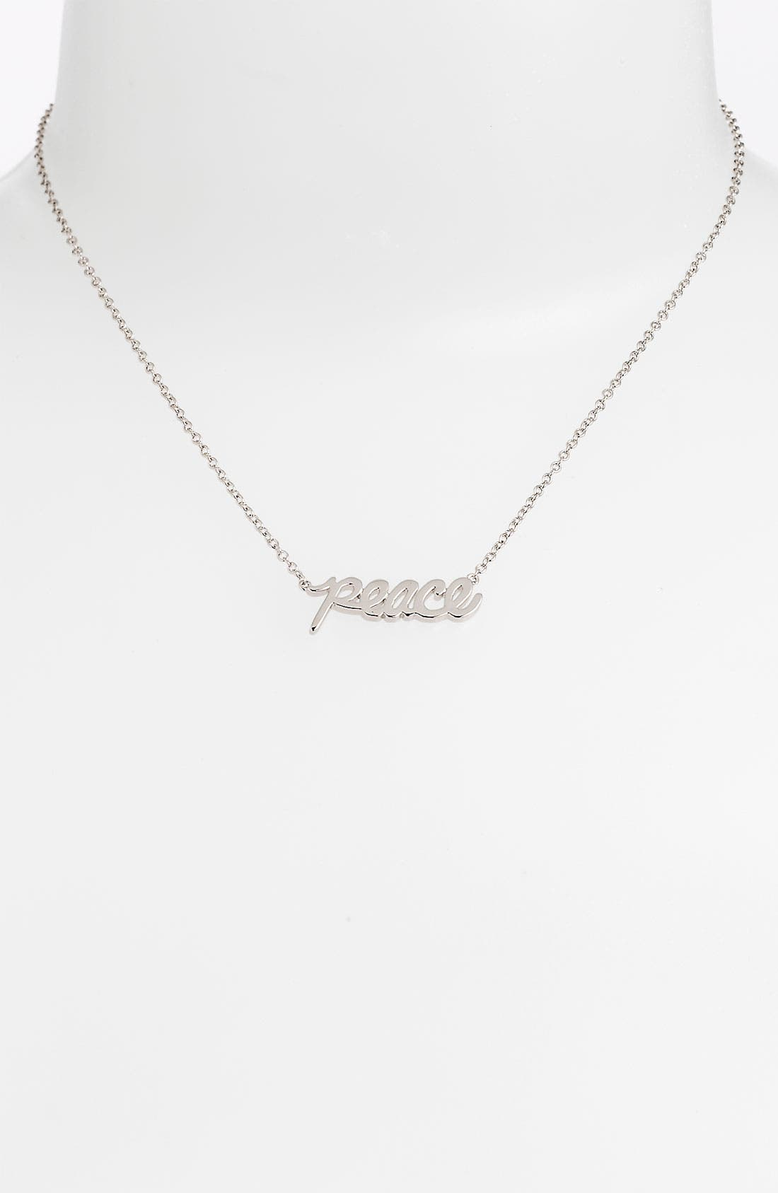 Alternate Image 1 Selected - Ariella Collection 'Messages - Peace' Script Pendant Necklace (Nordstrom Exclusive)