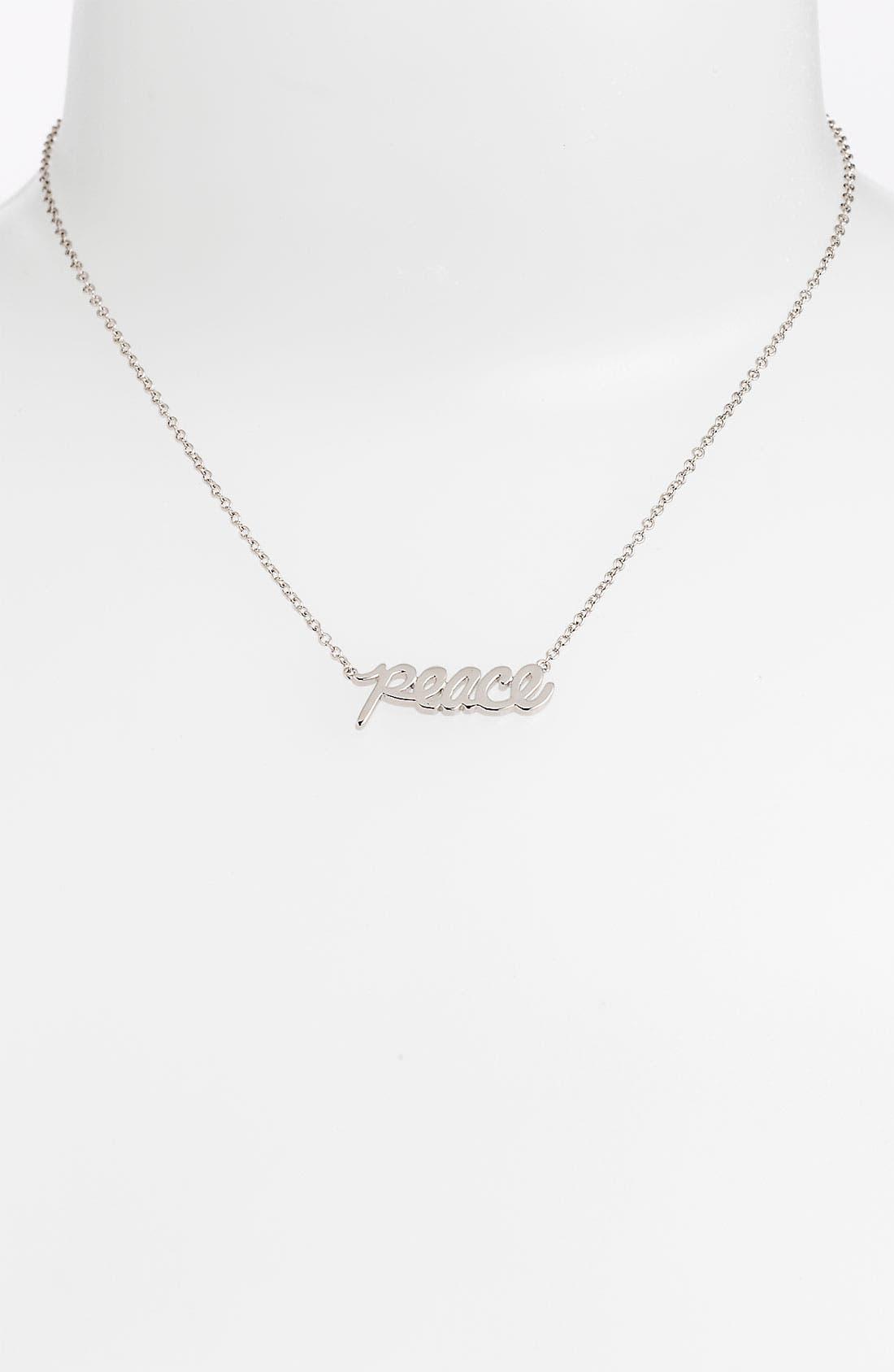 Main Image - Ariella Collection 'Messages - Peace' Script Pendant Necklace (Nordstrom Exclusive)