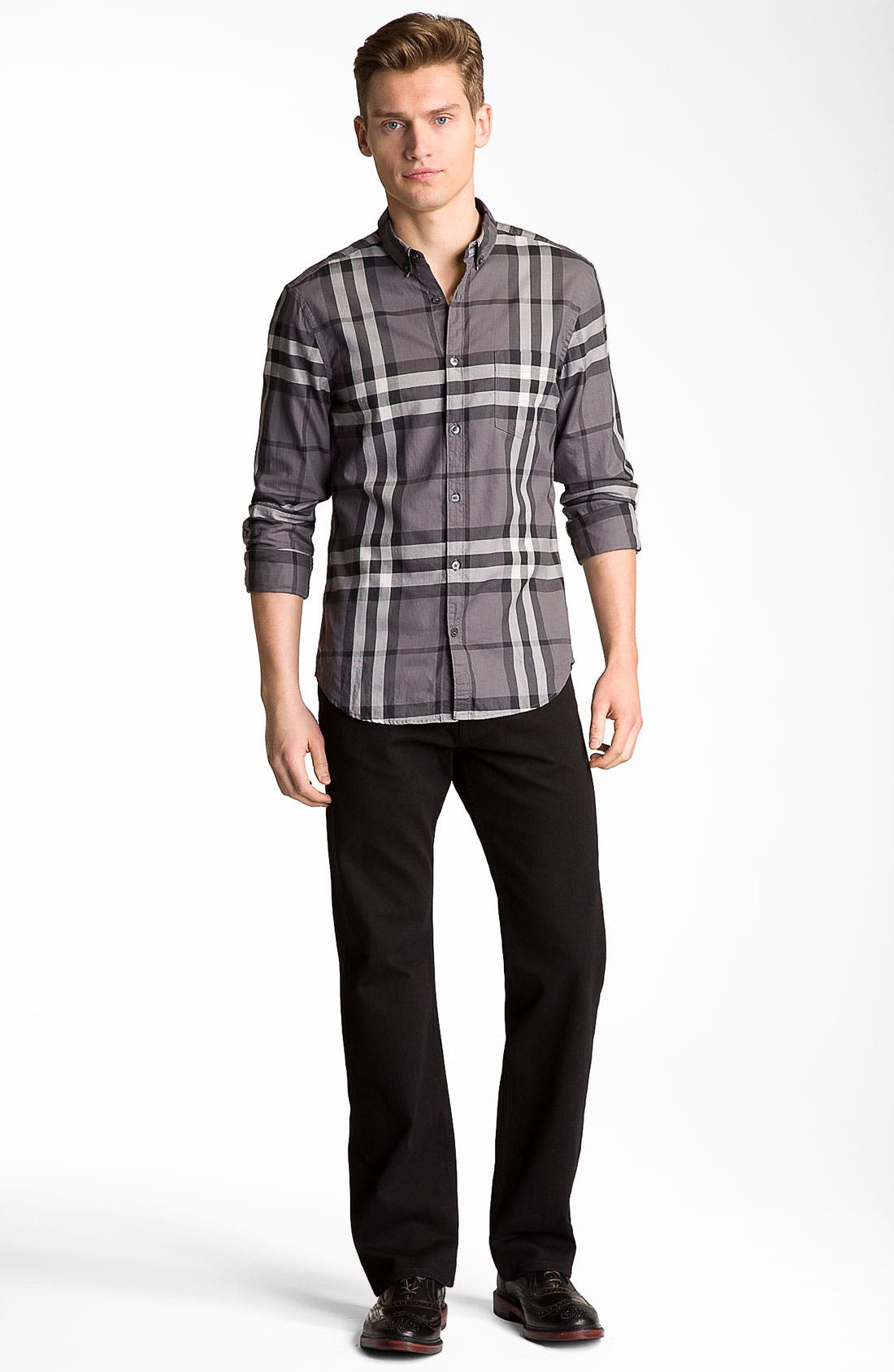 Alternate Image 5  - Burberry Brit Stretch Denim Jeans (Clean Black)