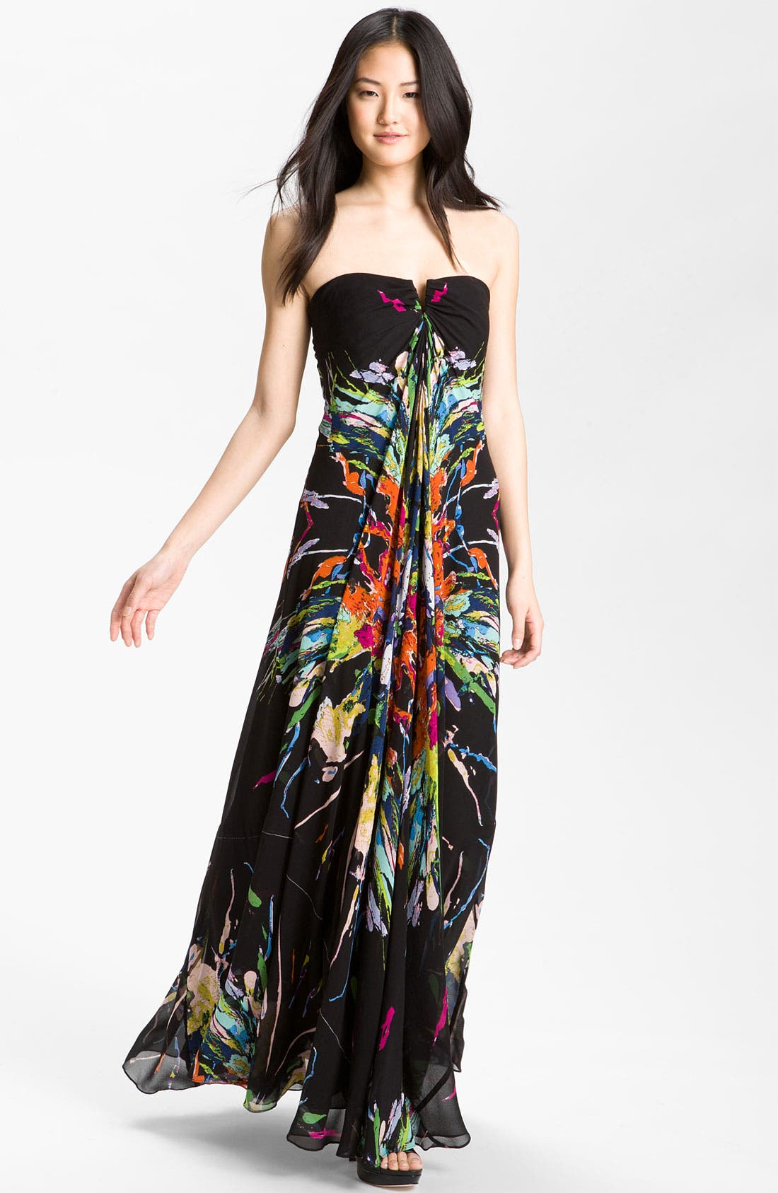 Main Image - Nicole Miller Paint Splatter Silk Chiffon Gown