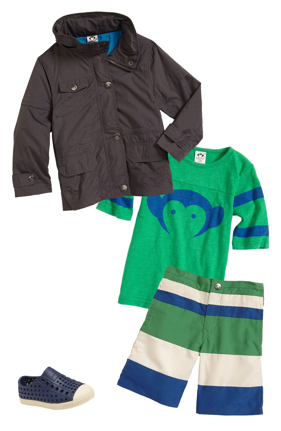 Main Image - Appaman Wind Jacket, T-Shirt & Surf Shorts (Toddler)