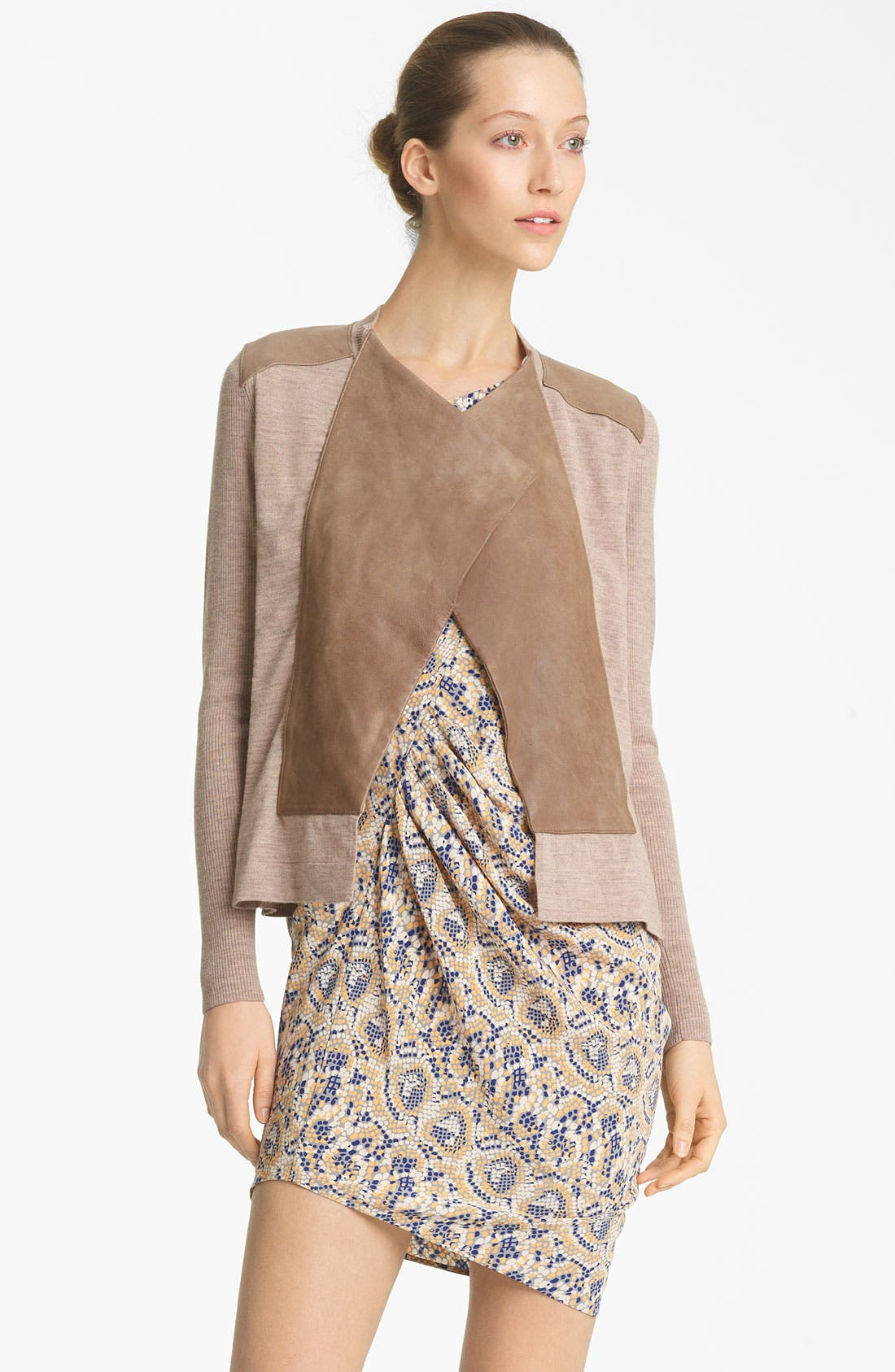 Alternate Image 1 Selected - Thakoon Leather Panel Drape Cardigan