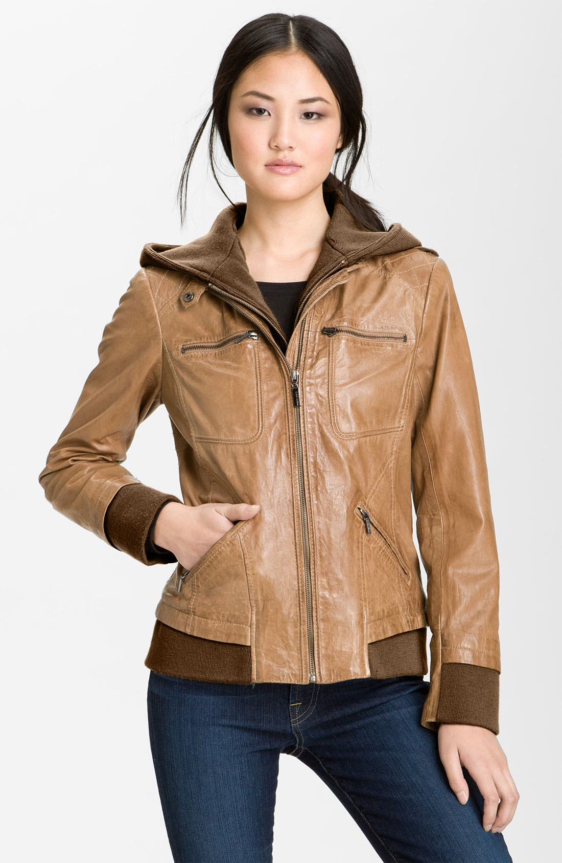 Alternate Image 1 Selected - Bernardo Leather Bomber Jacket with Detachable Hoodie Liner