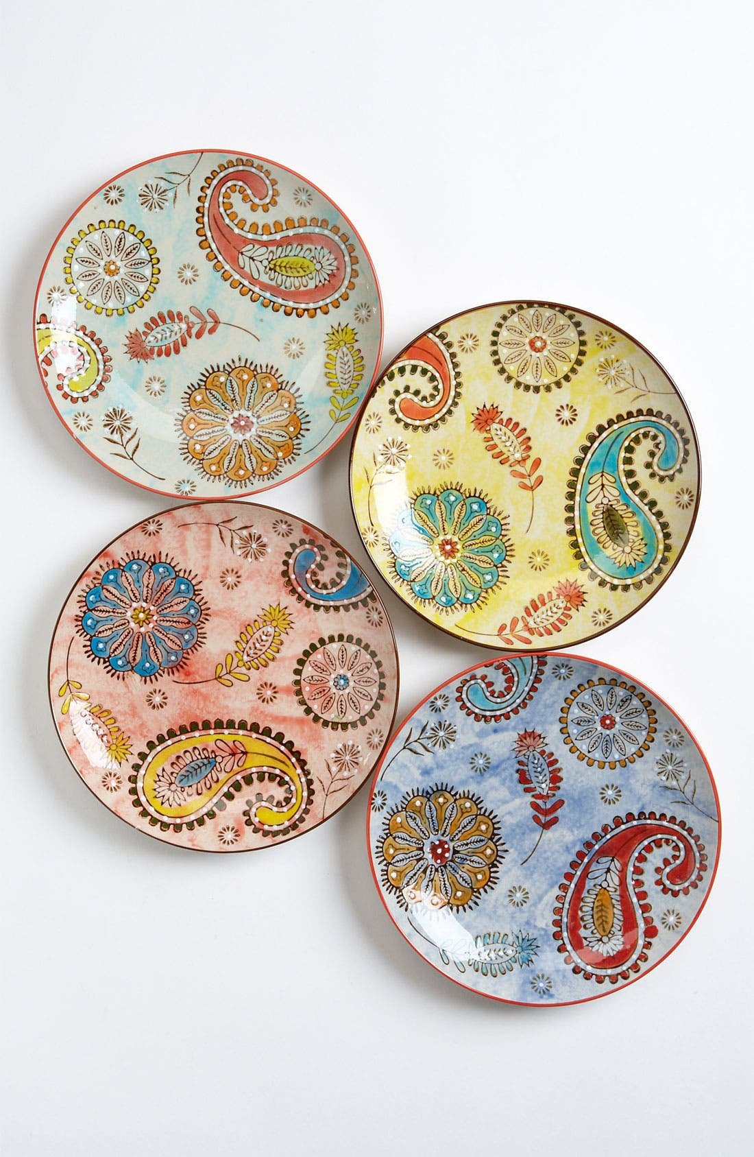 Alternate Image 1 Selected - Hand Painted Paisley Plates (Set of 4)