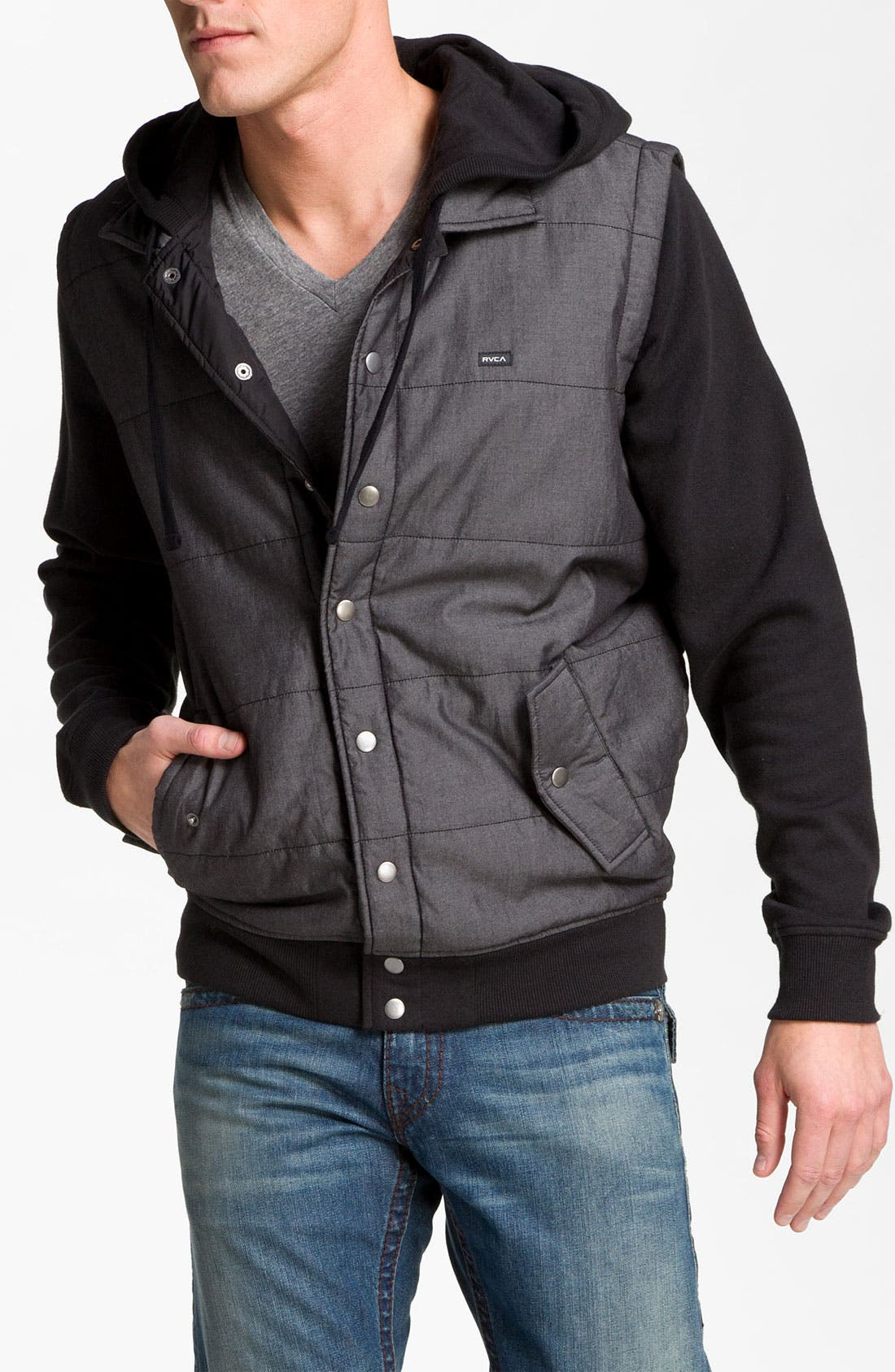 Alternate Image 1 Selected - RVCA Puffer Vest Hooded Jacket