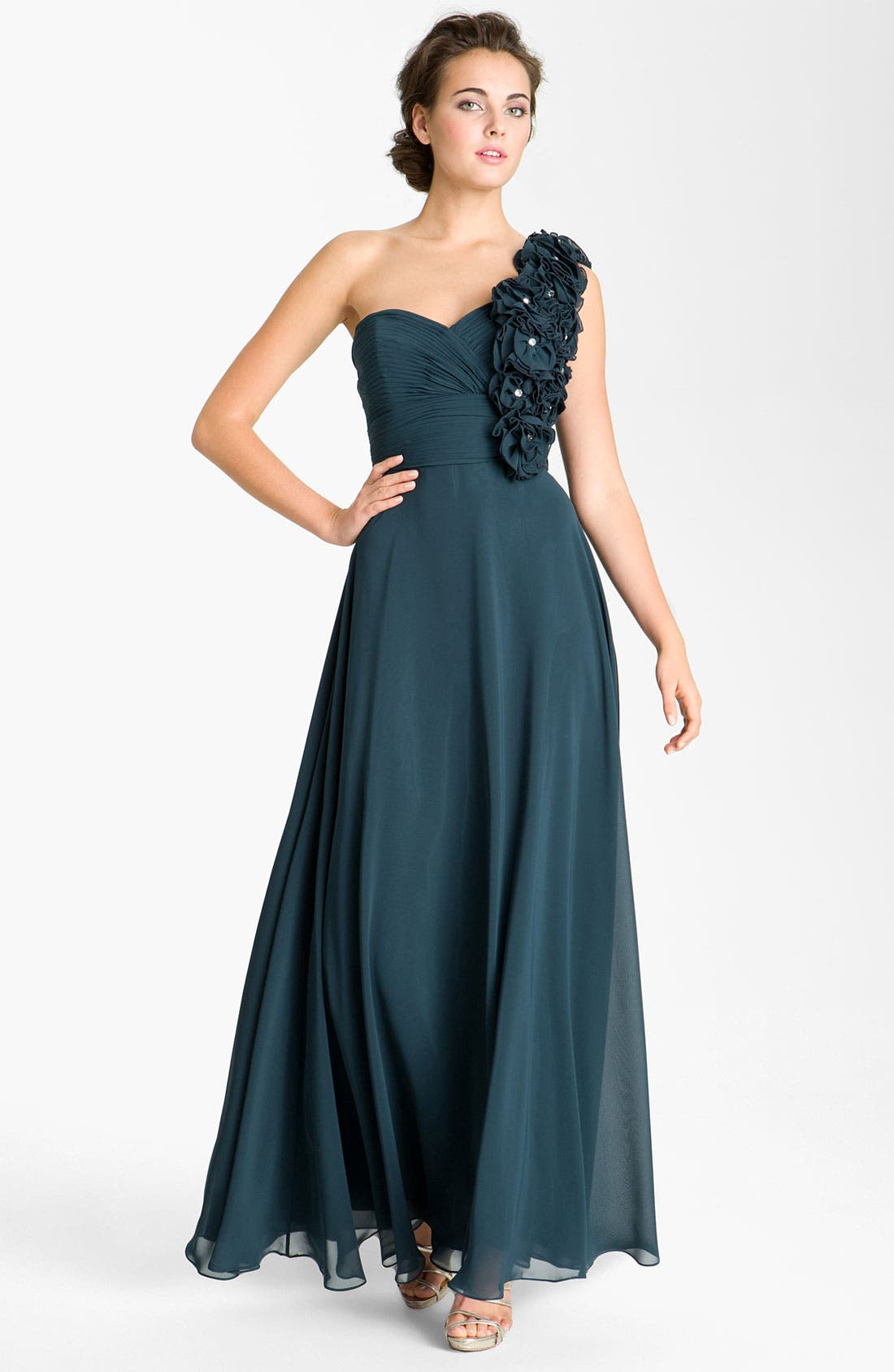 Alternate Image 1 Selected - Sean Collection Rosette Detail Chiffon Ballgown