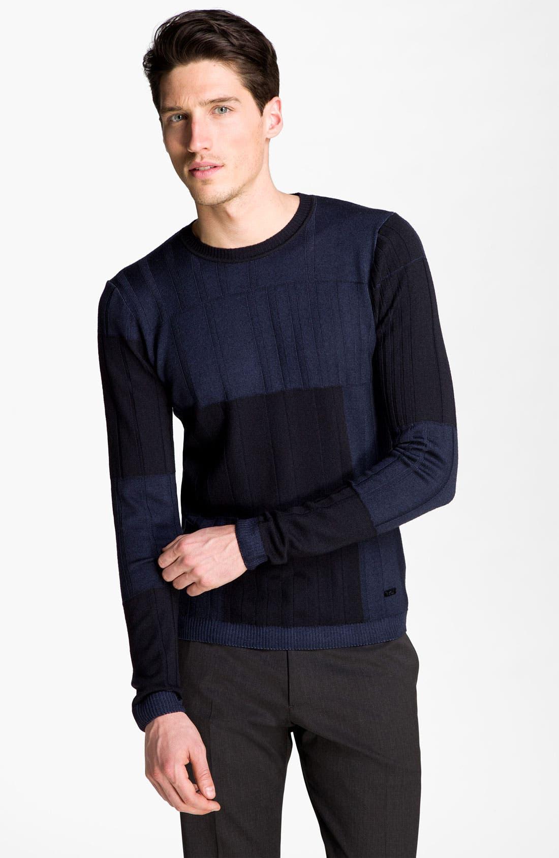 Main Image - Armani Collezioni Colorblock Crewneck Sweater