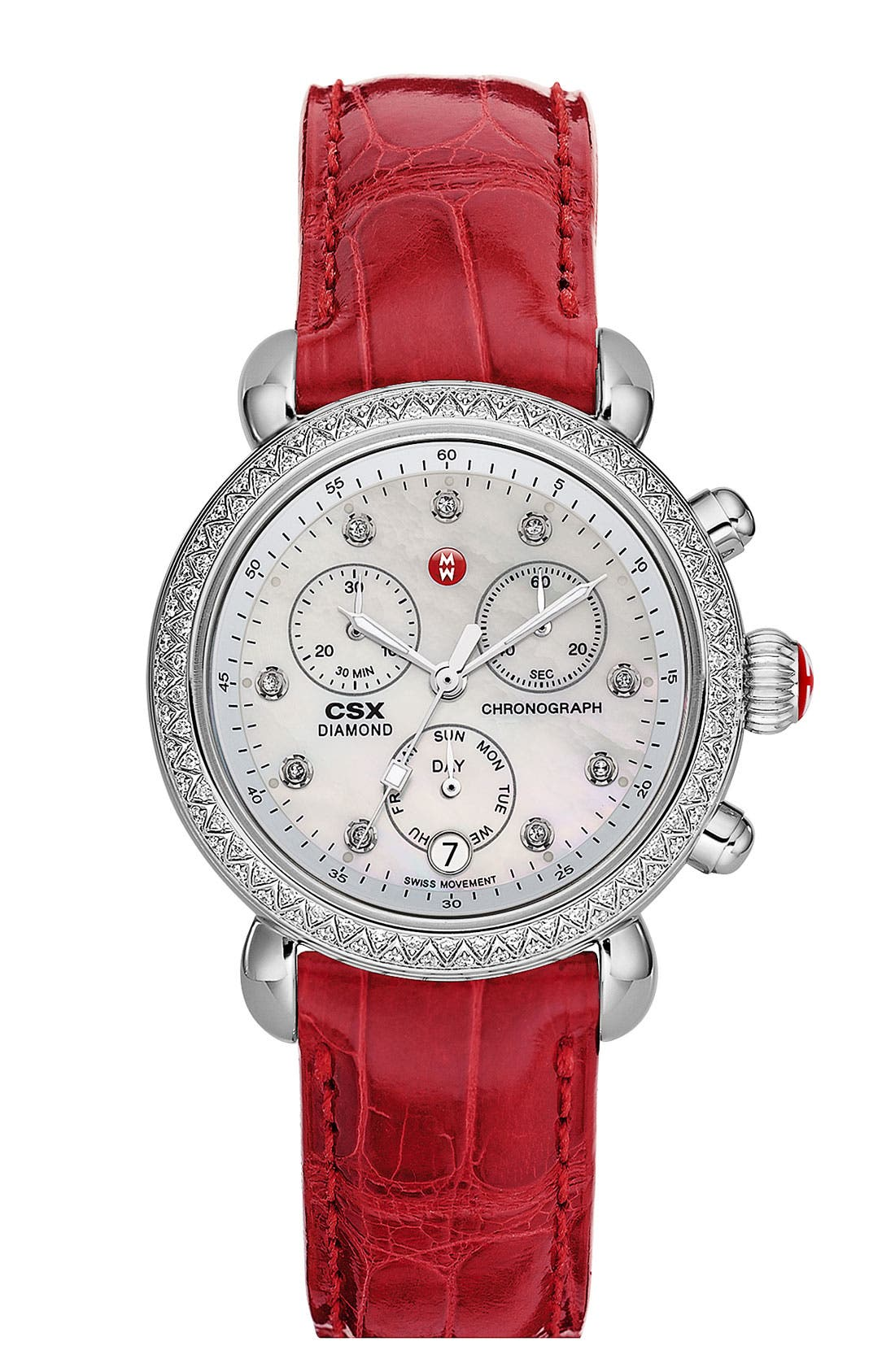 Alternate Image 2  - MICHELE 'CSX-36 Diamond' Diamond Dial Two Tone Watch Case, 36mm