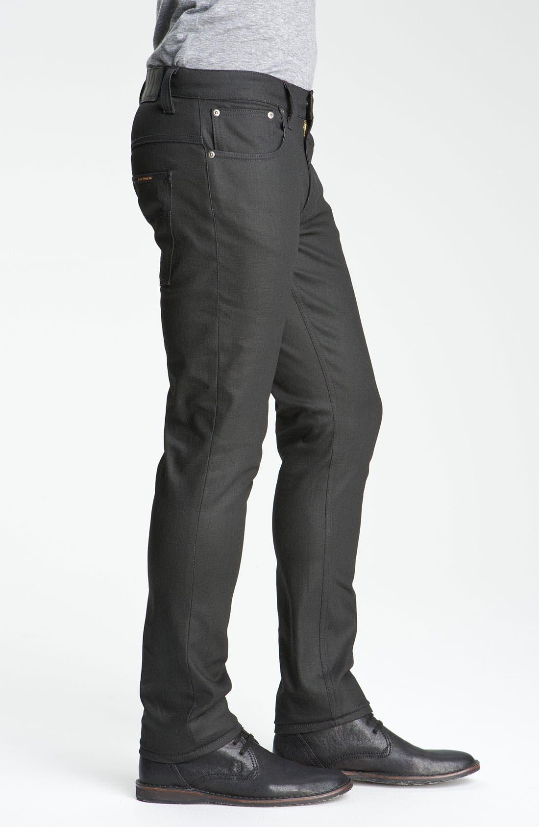 Alternate Image 3  - Nudie 'Thin Finn' Skinny Jeans (Dry Black)