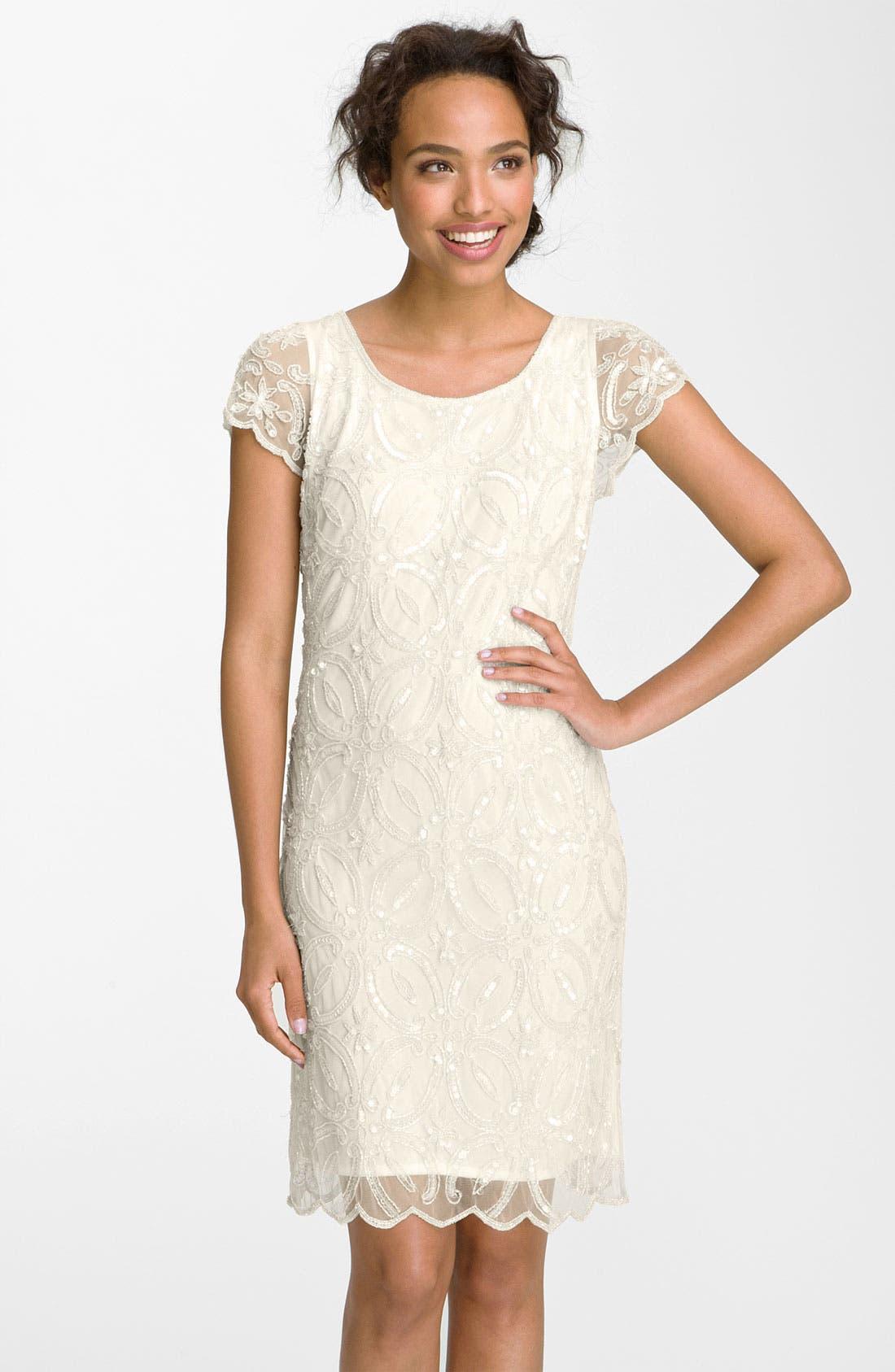 Main Image - Pisarro Nights Embellished Scallop Hem Sheath Dress