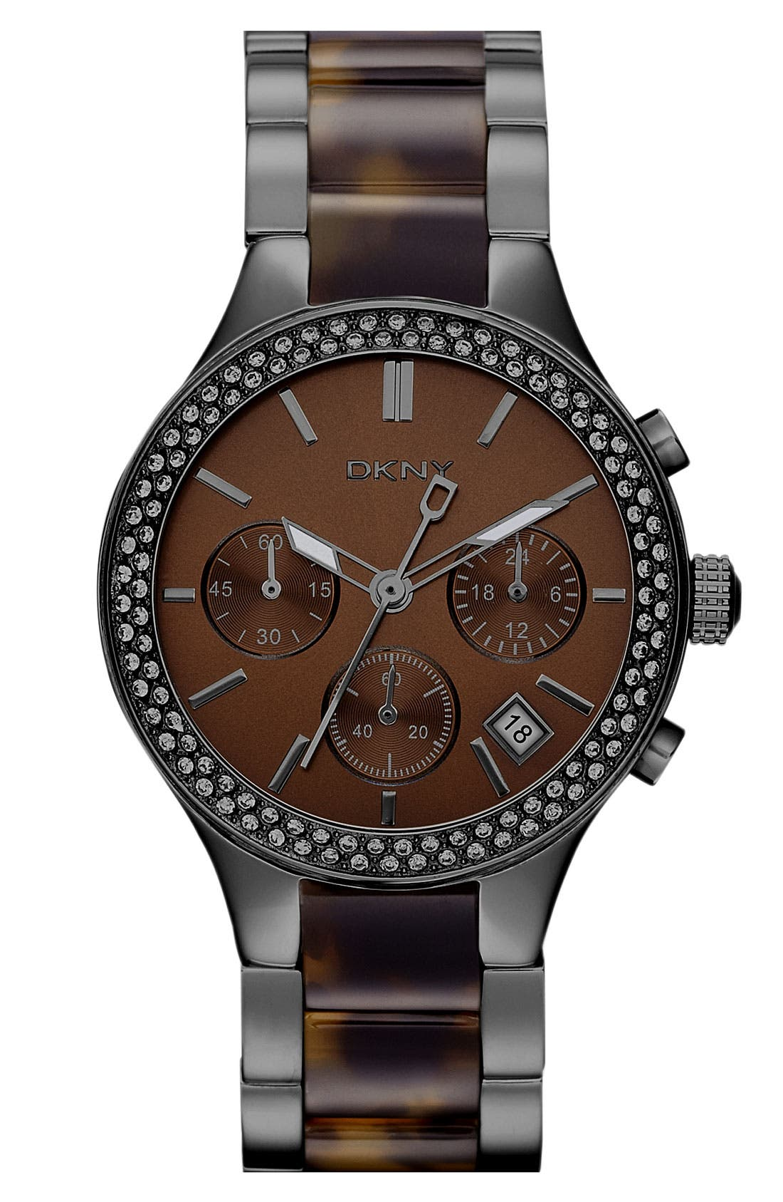Alternate Image 1 Selected - DKNY 'Street Smart' Crystal Bezel Bracelet Watch