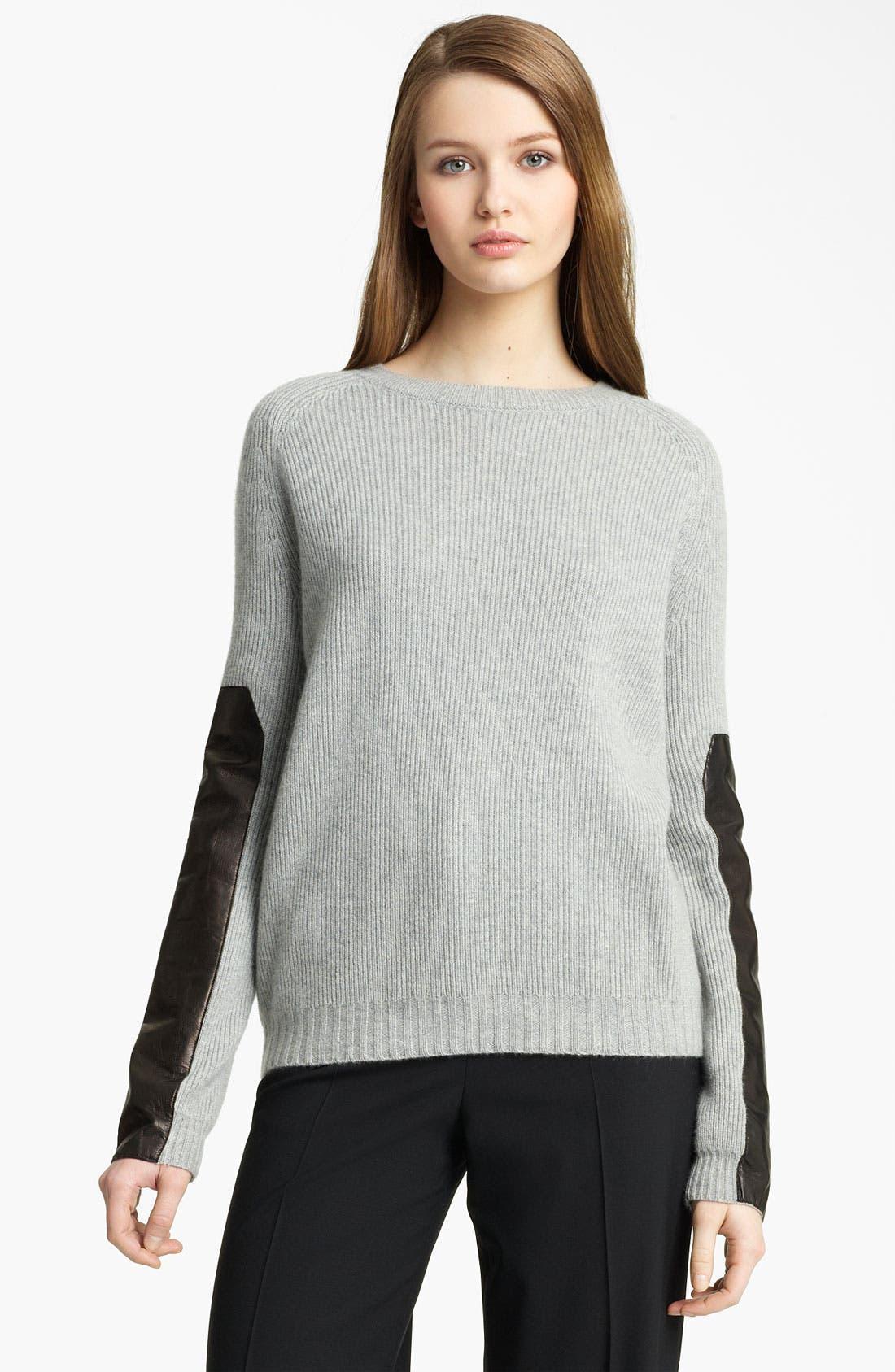 Main Image - Reed Krakoff Leather Sleeve Cashmere Sweater
