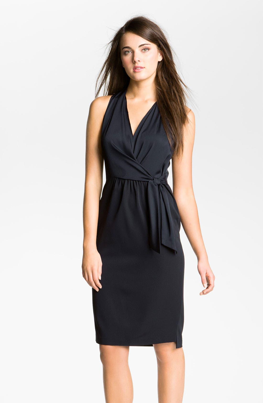 Main Image - Elie Tahari 'Savannah' Sleeveless Crêpe de Chine Faux Wrap Dress