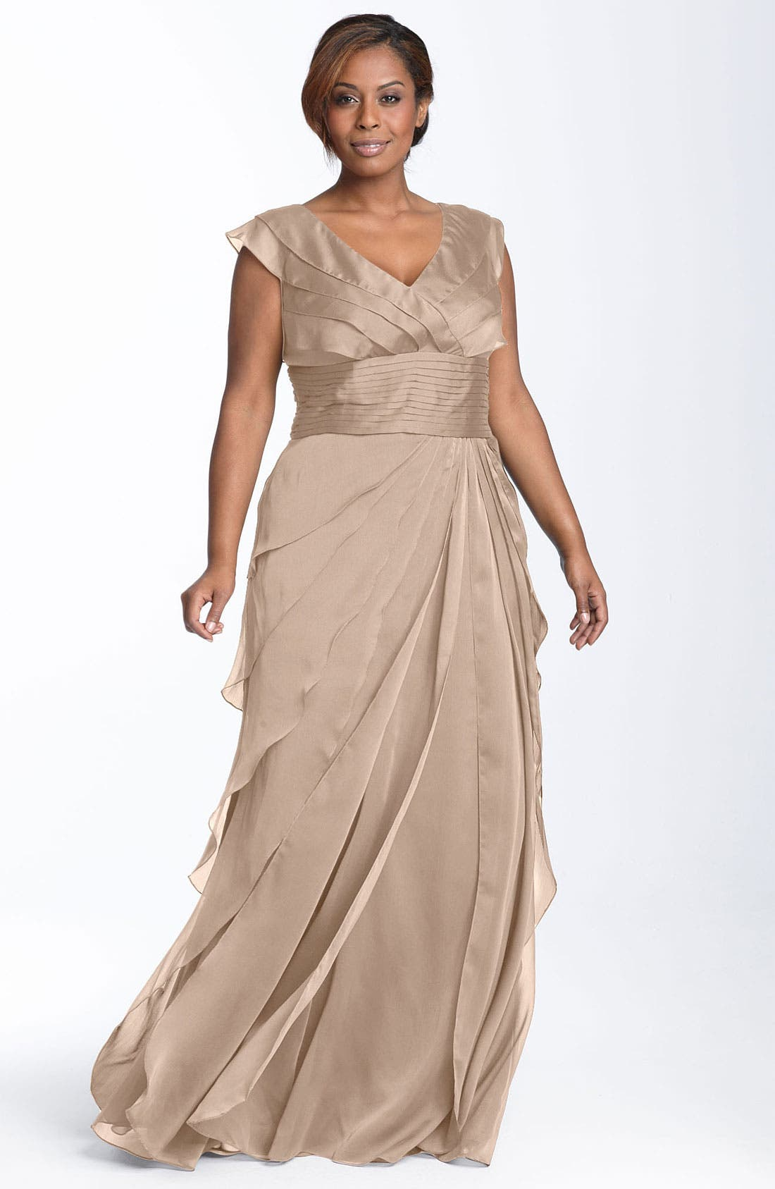 Alternate Image 1 Selected - Adrianna Papell Iridescent Chiffon Petal Gown (Plus Size)