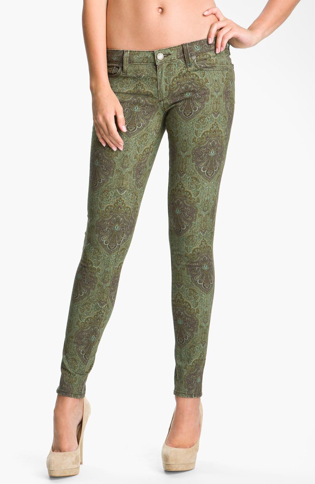 Main Image - Paige Denim 'Verdugo' Print Skinny Jeans (Estate Green Paisley)