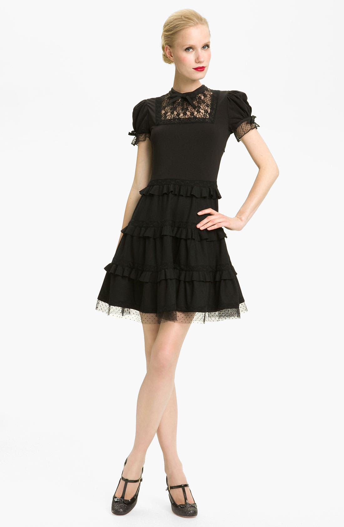 Main Image - RED Valentino Tiered Hem Jersey & Lace Dress