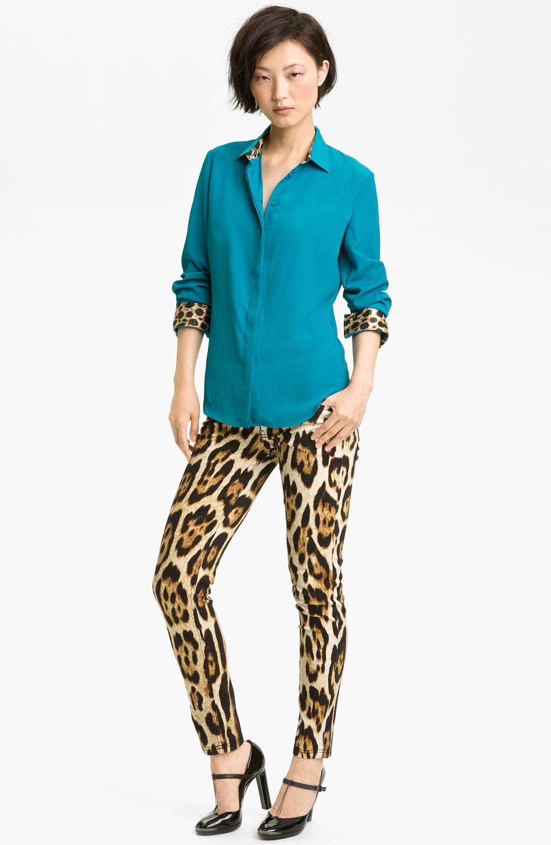Alternate Image 1 Selected - Just Cavalli Leopard Trim Shirt