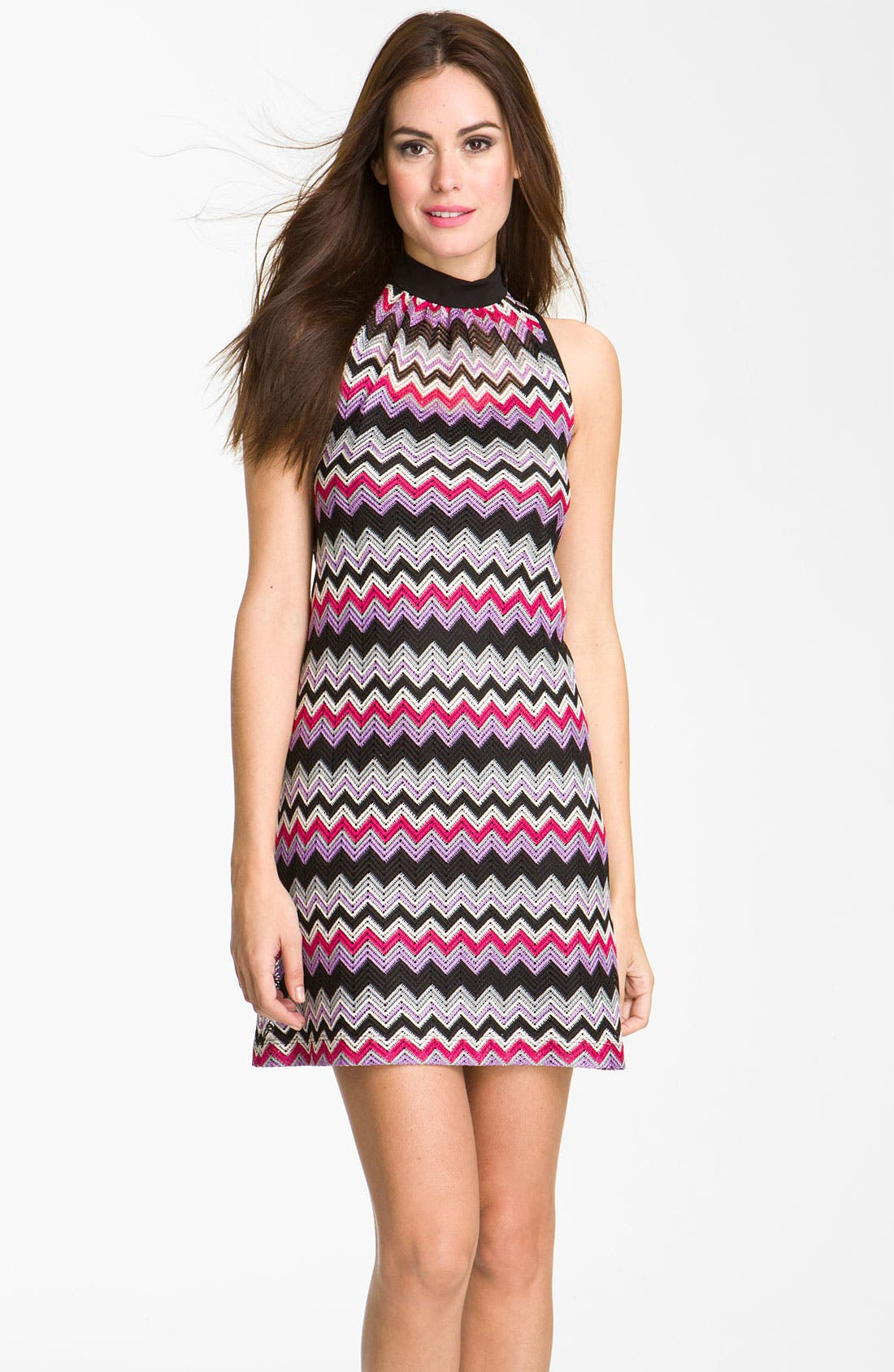 Alternate Image 1 Selected - Donna Ricco High Neck Zigzag Shift Dress