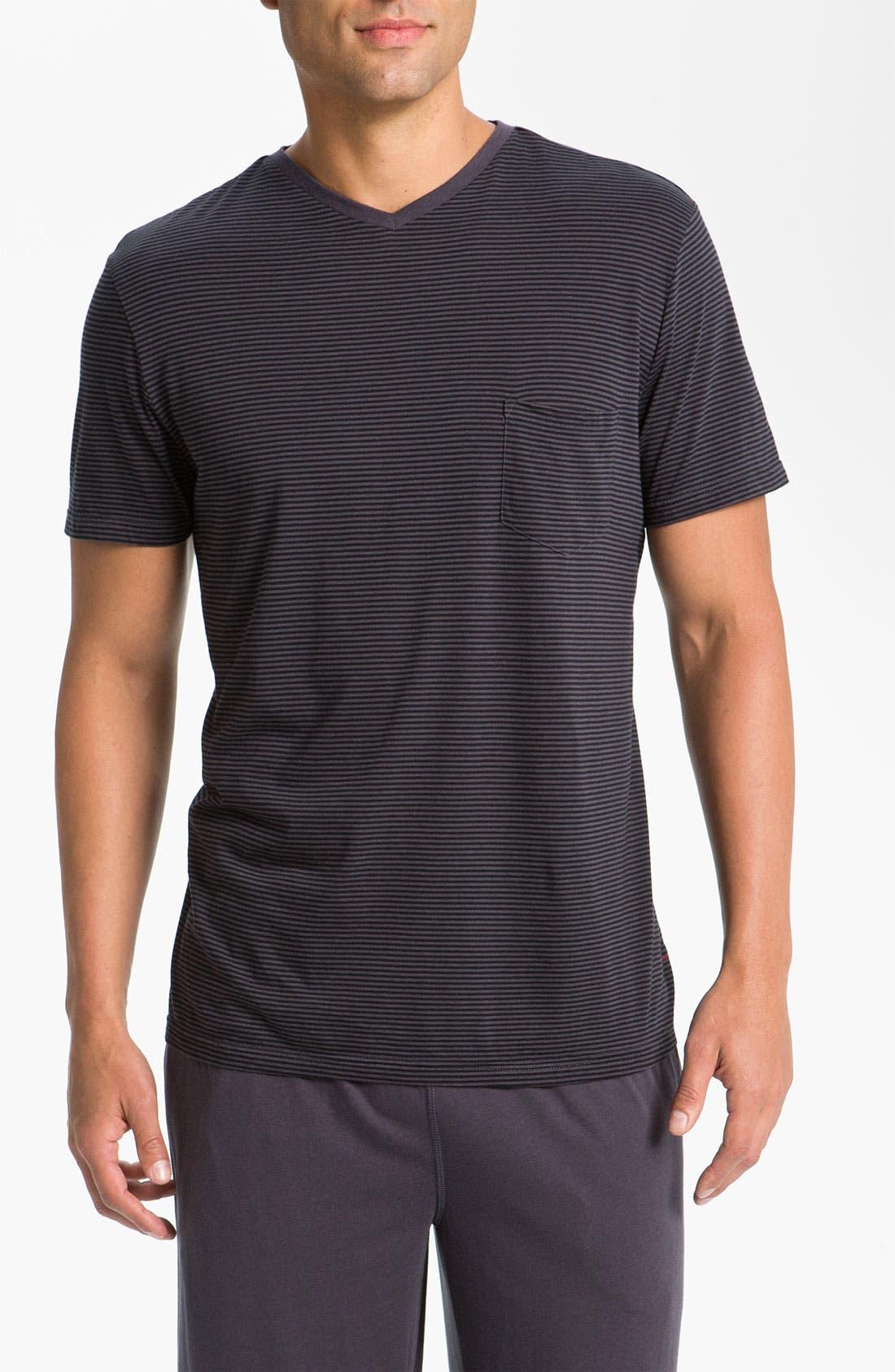 Alternate Image 1 Selected - Daniel Buchler Lightweight Cotton/Modal Stripe V-Neck T-Shirt
