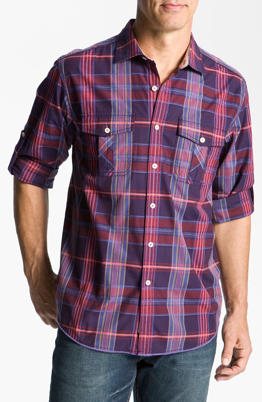 Alternate Image 1 Selected - Tommy Bahama Denim 'Pagoda' Plaid Sport Shirt