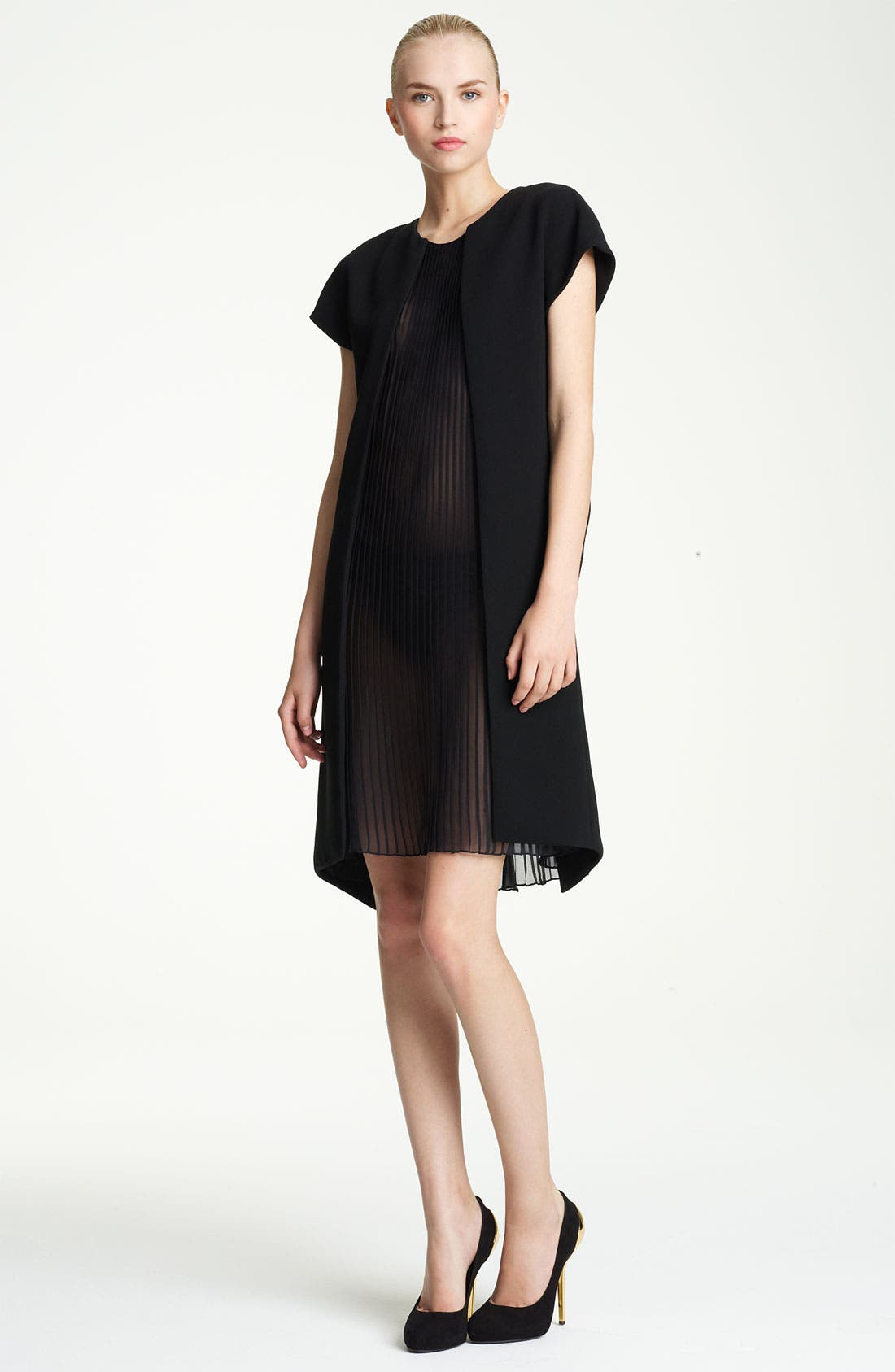 Alternate Image 1 Selected - Vionnet Plisse Panel Techno Cady Dress