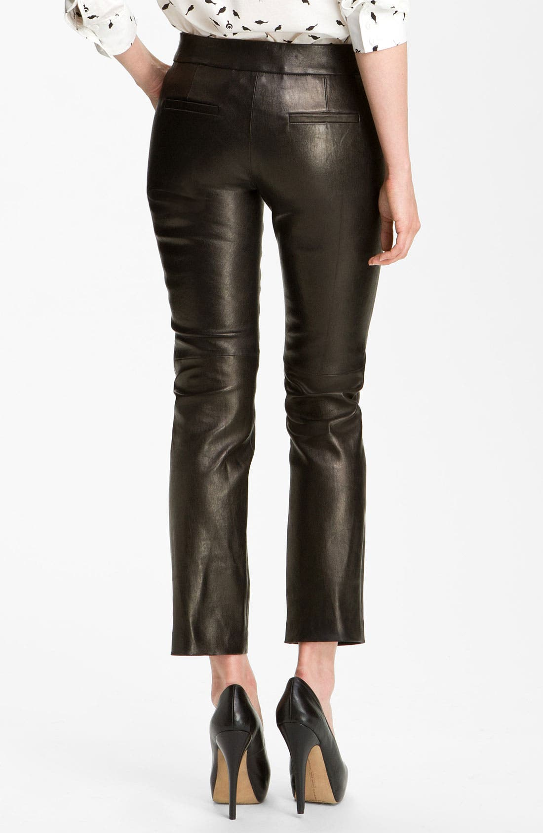 Alternate Image 2  - Milly Slim Leg Leather Ankle Pants