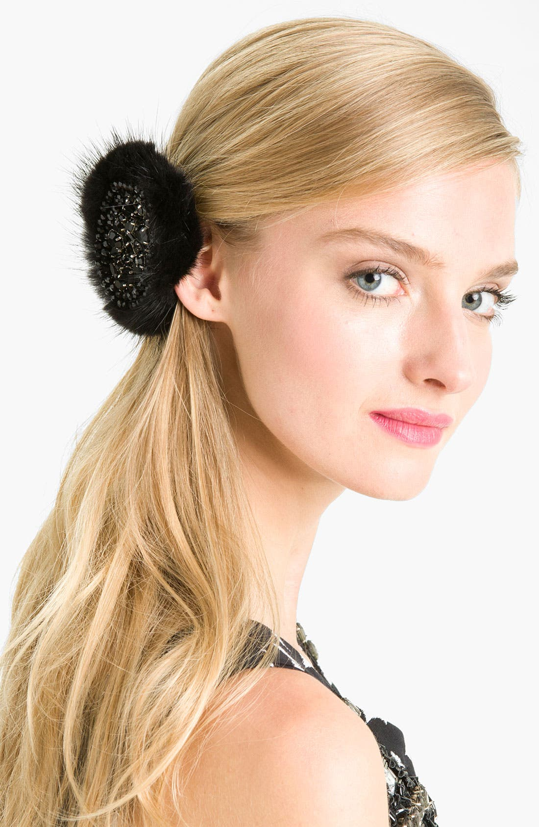 Alternate Image 1 Selected - Tasha Genuine Mink & Beaded Crystal Hair Pin