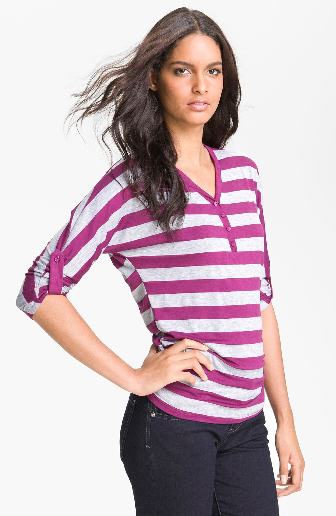 Alternate Image 1 Selected - Olivia Moon Ruched Stripe Henley Tee