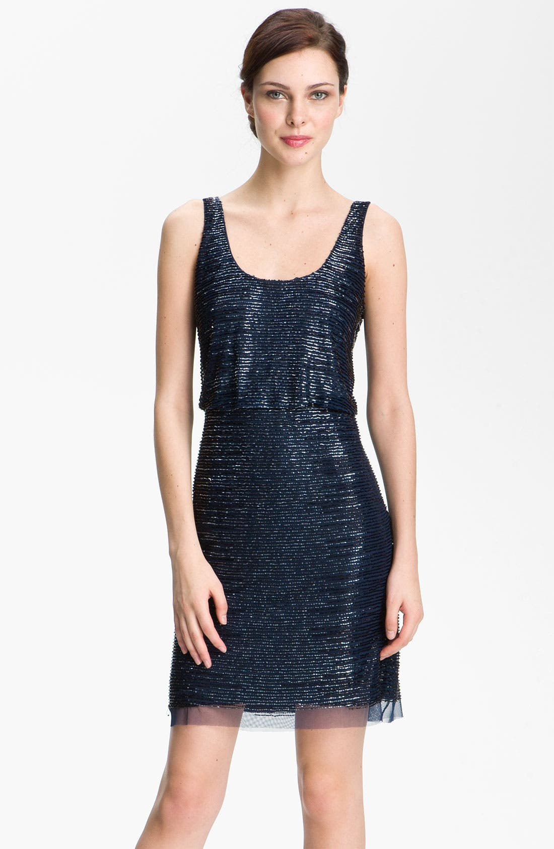 Alternate Image 1 Selected - Adrianna Papell Beaded Mesh Cocktail Dress