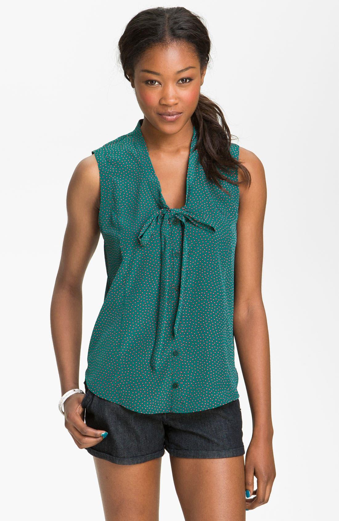 Alternate Image 1 Selected - Chloe K Print Tie Neck Shirt (Juniors)