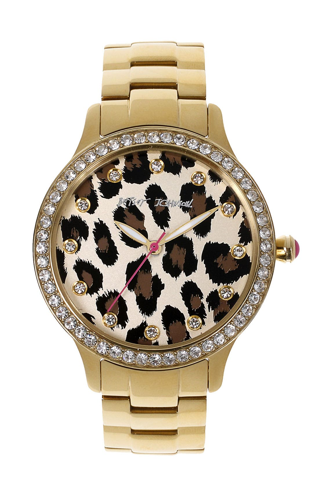 Main Image - Betsey Johnson Leopard Print Dial Watch, 40mm