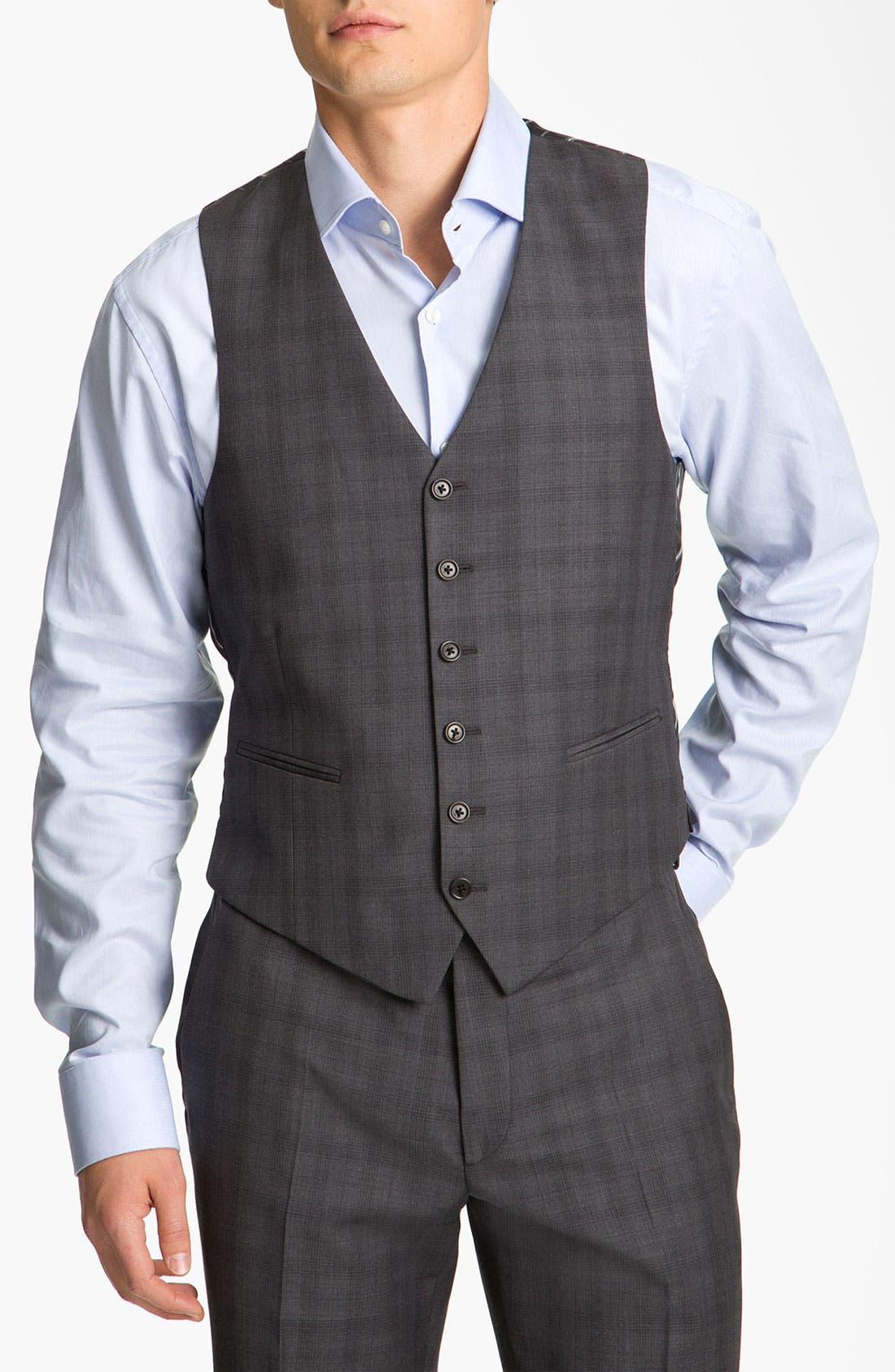 Alternate Image 7  - John Varvatos Star USA 'Chester' Plaid Three Piece Suit