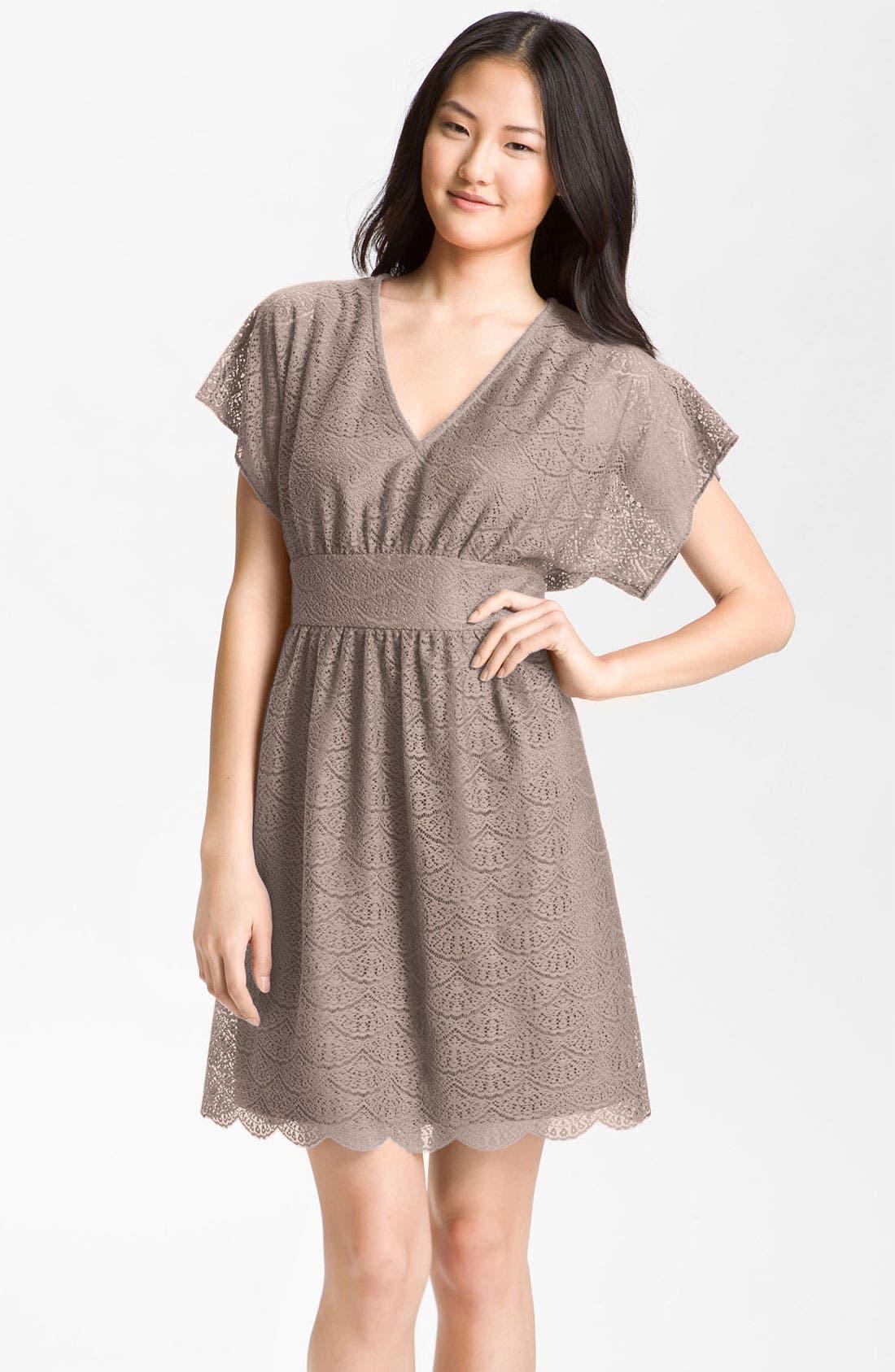 Main Image - Adrianna Papell Dolman Sleeve Lace Overlay Dress