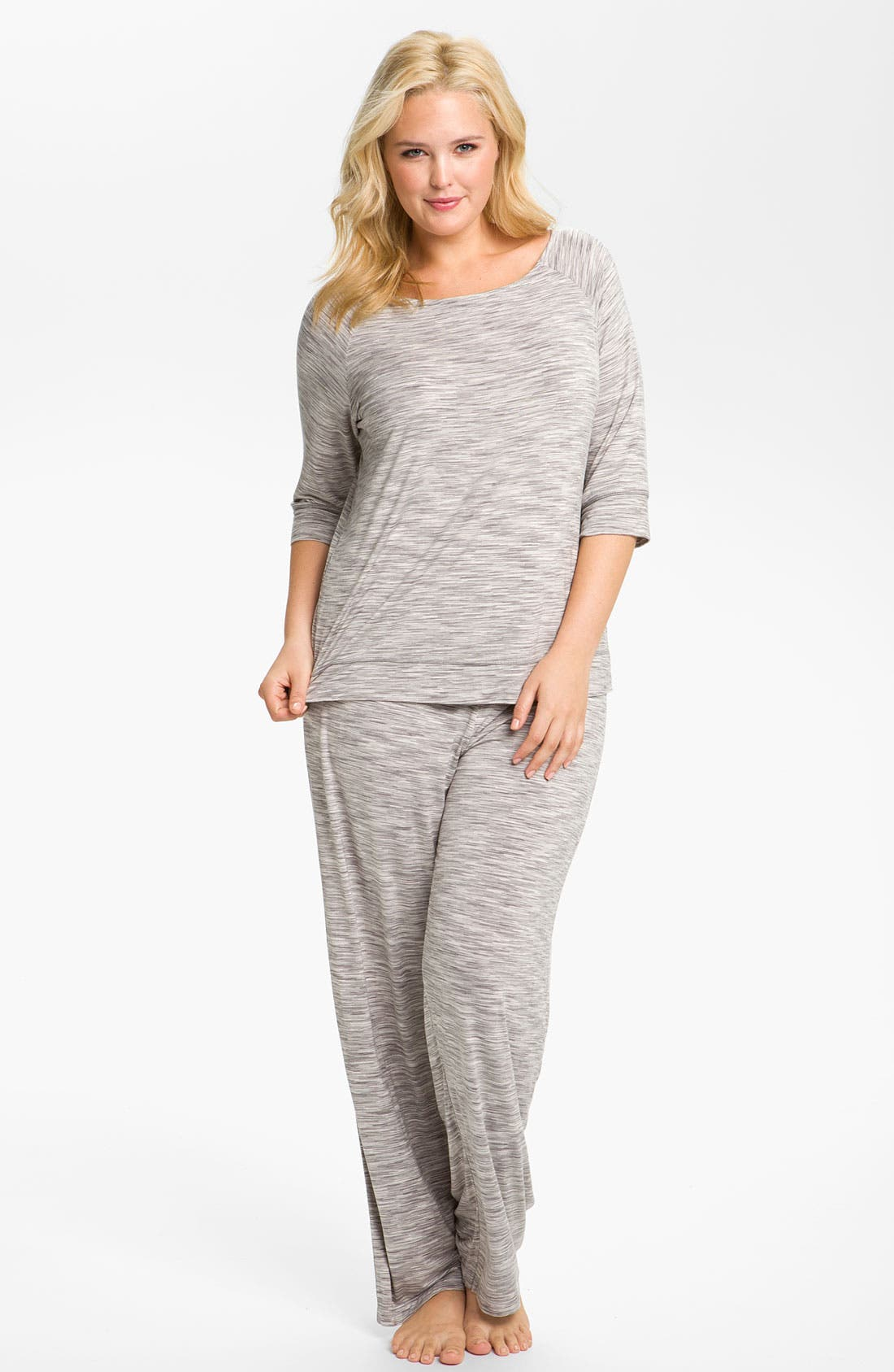 Alternate Image 4  - Hue Space Dye Pajama Pants (Plus)