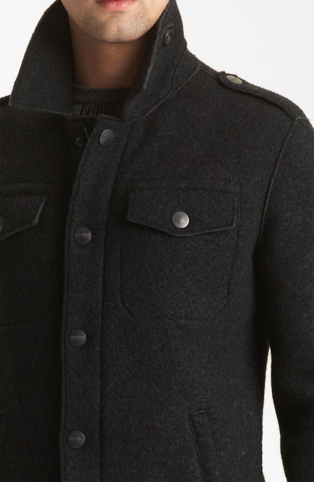 Alternate Image 4  - Armani Collezioni Boiled Wool Military Jacket