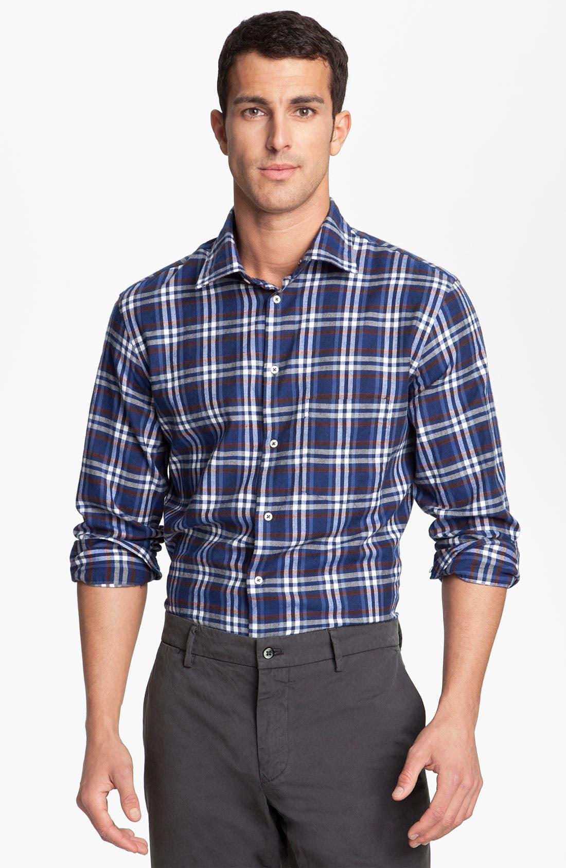 Alternate Image 1 Selected - Mason's Plaid Brushed Cotton Shirt