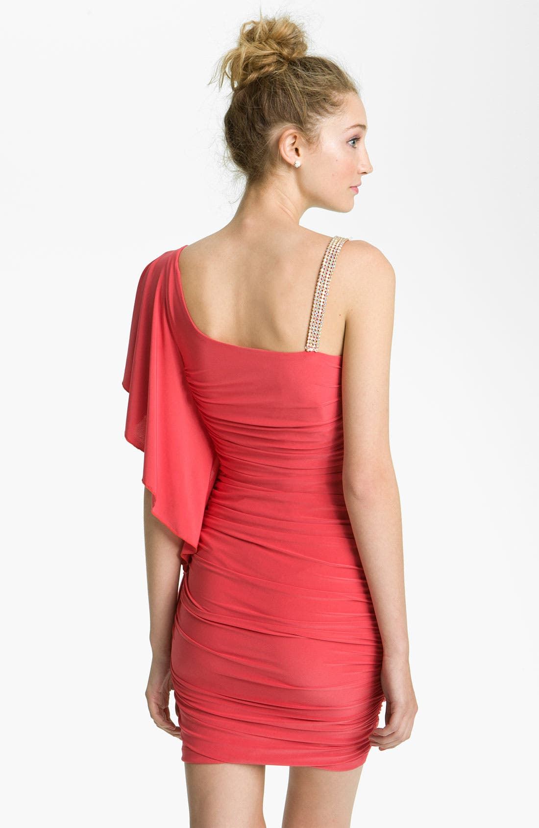 Alternate Image 2  - Way-In One-Shoulder Flutter Dress (Juniors)