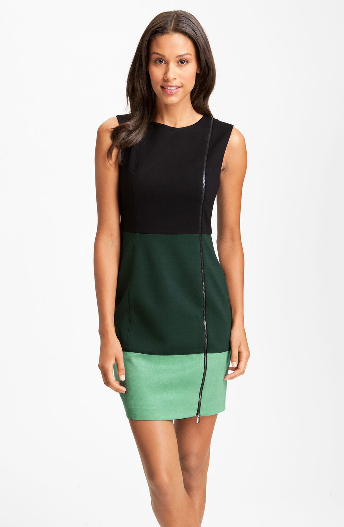 Alternate Image 1 Selected - Laundry by Shelli Segal Colorblock Exposed Zipper Sheath Dress (Online Exclusive)