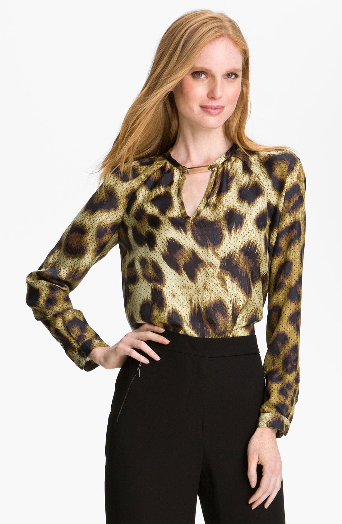 Main Image - Magaschoni Dotted Leopard Print Silk Blouse