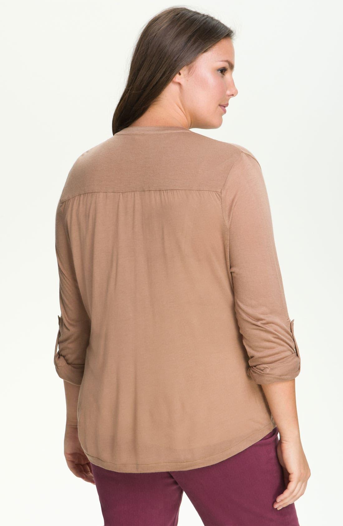Alternate Image 2  - Press Tab Sleeve Shirt (Plus)