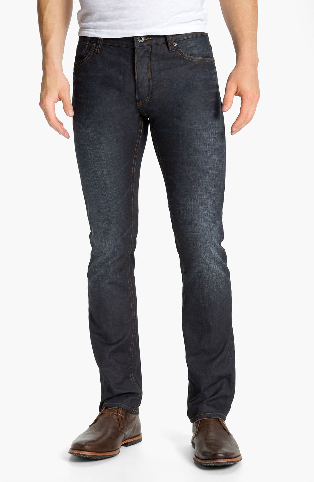 Main Image - John Varvatos Star USA 'Bowery Brewester' Straight Leg Jeans (Oiled Blue)
