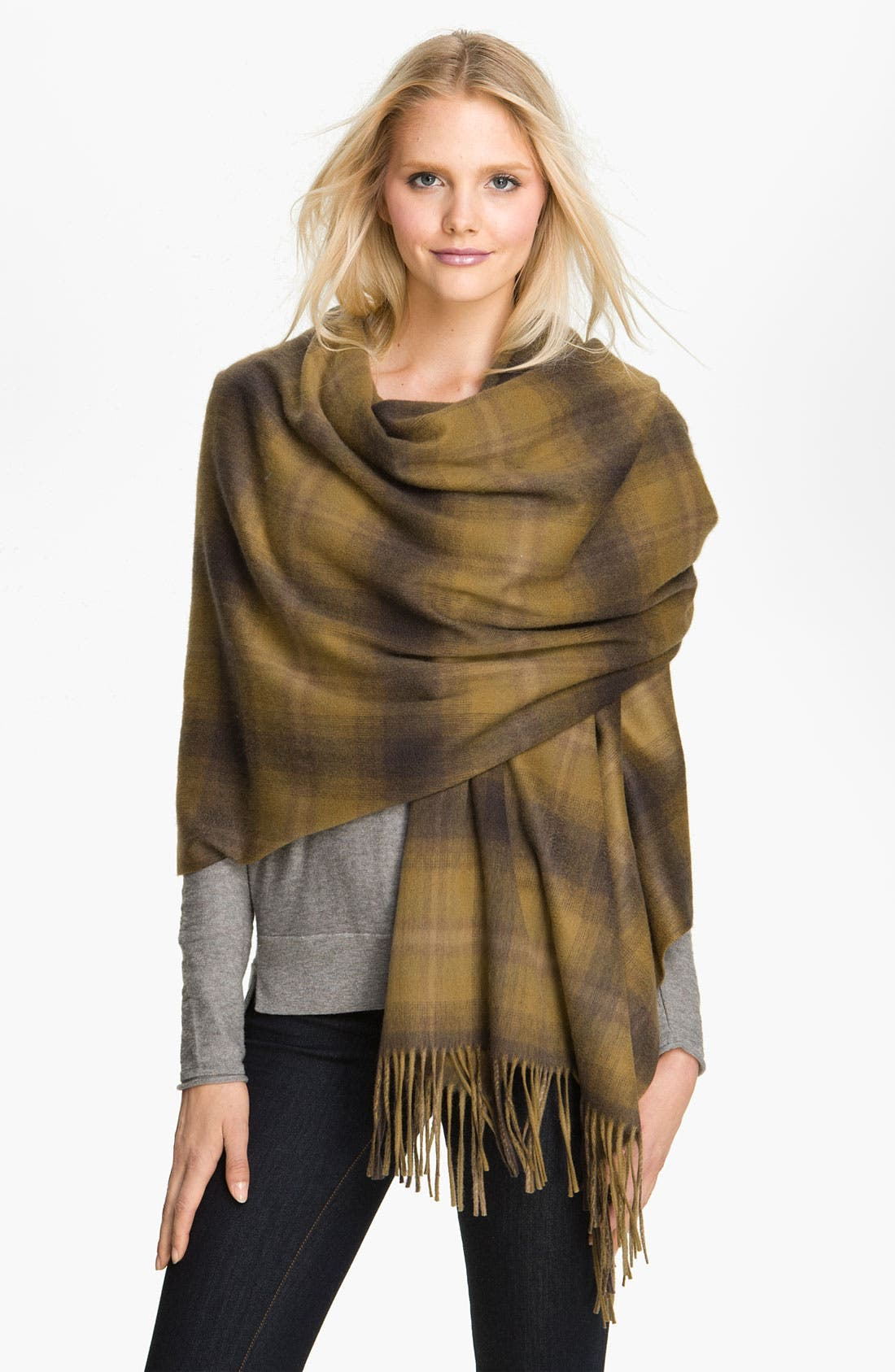 Alternate Image 1 Selected - Nordstrom Plaid Cashmere Wrap