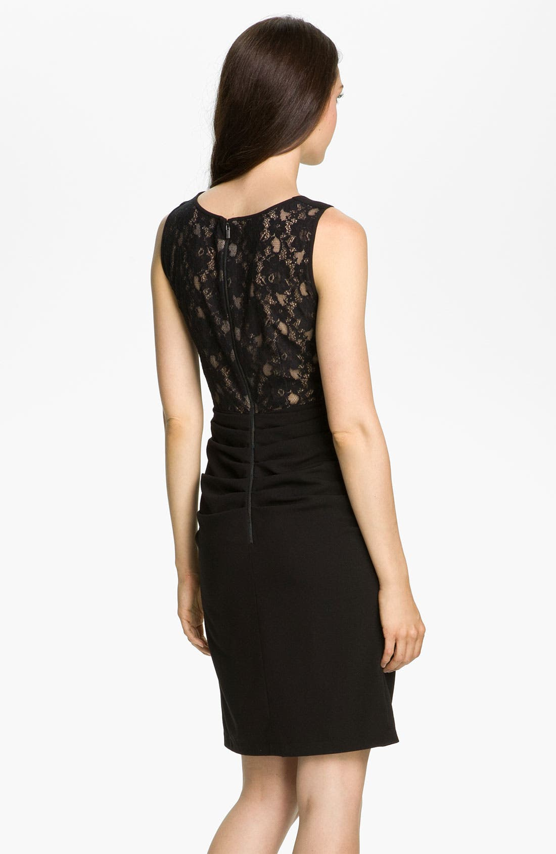 Alternate Image 2  - BCBGMAXAZRIA Lace Back Crepe Sheath Dress