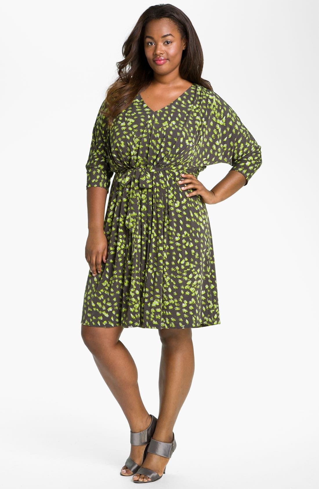 Alternate Image 4  - Suzi Chin for Maggy Boutique Tie Front Print Dress (Plus)