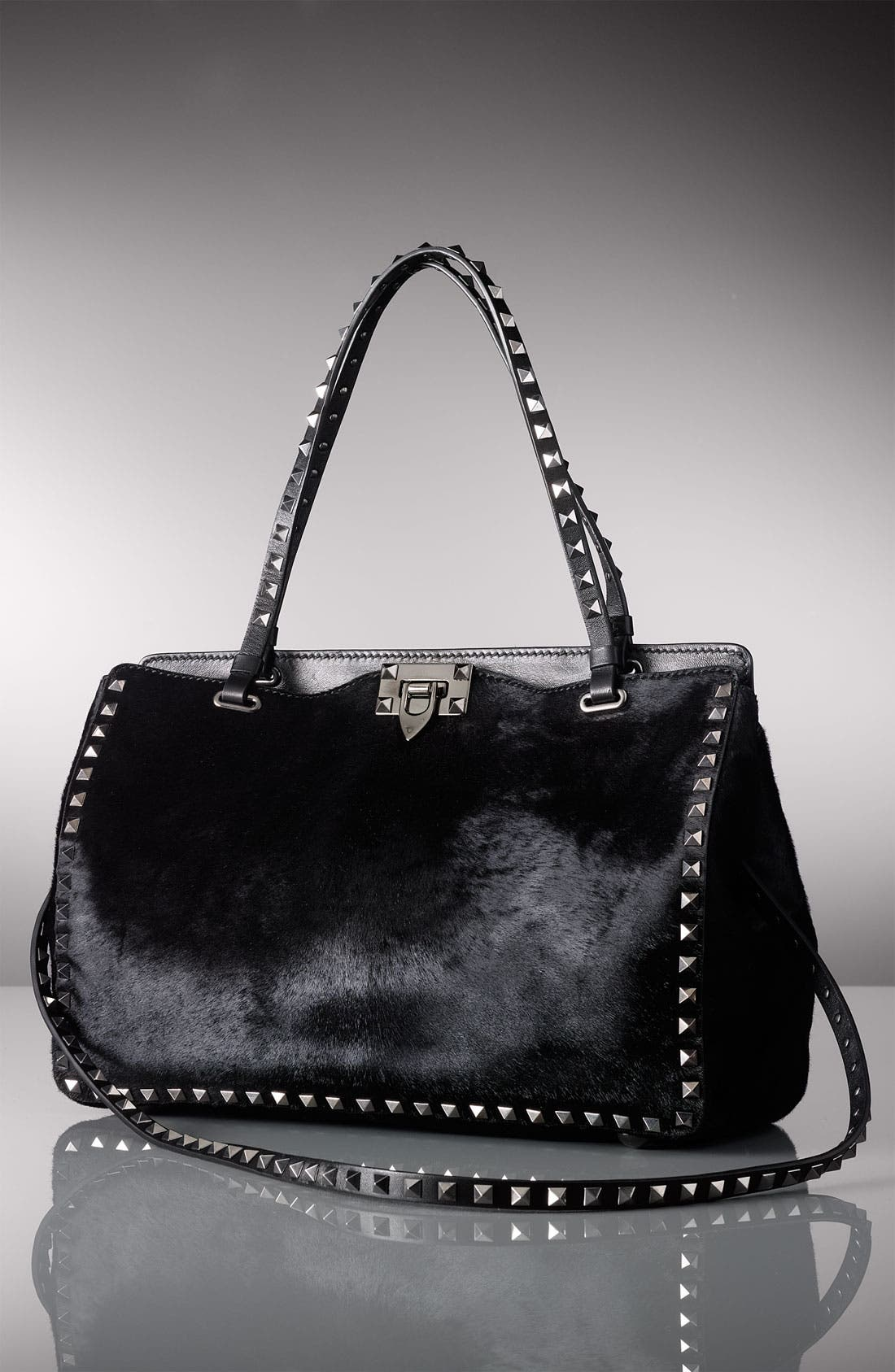 Alternate Image 5  - Valentino 'Rockstud - Noir' Calf Hair Shopper