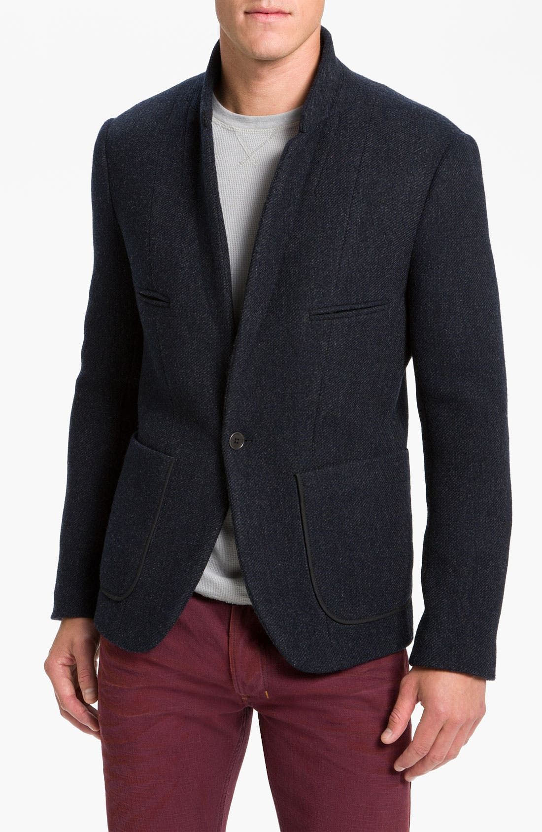 Main Image - Edun One Button Twill Woven Blazer