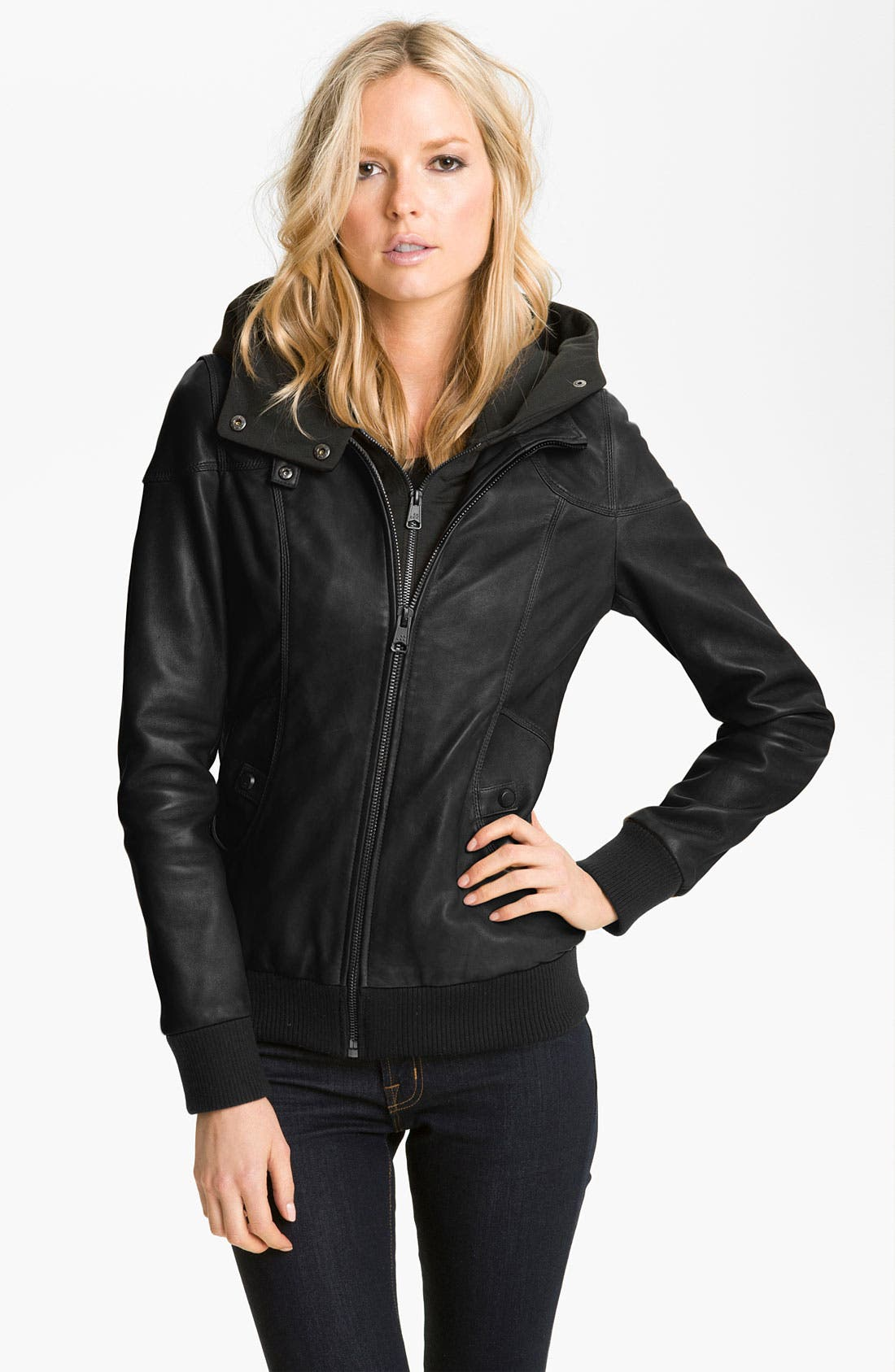 Main Image - Soia & Kyo Leather Jacket with Removable Hoodie Liner