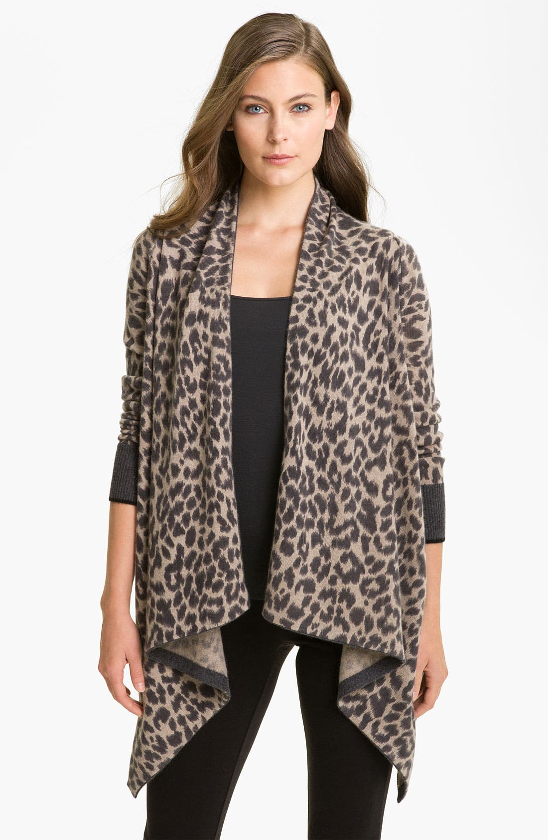 Main Image - White + Warren Animal Print Cashmere Cardigan